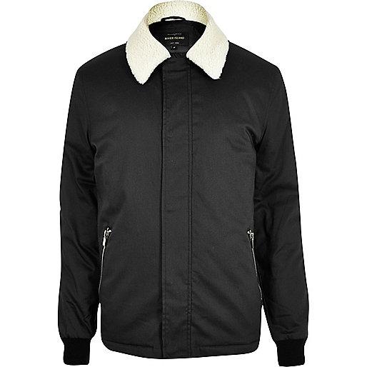 Veste Harrington noire à col en peau de mouton