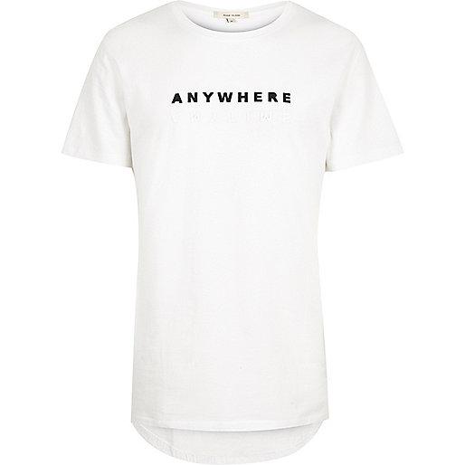 White Anywhere print longline T-shirt