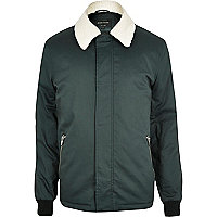 Dark green fleece collar harrington jacket