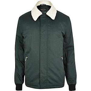 Dark green borg collar harrington jacket