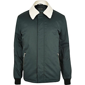 Dark green fleece collar harrington jacket