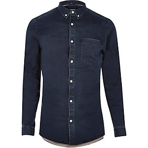 Indigo wash casual skinny fit denim shirt