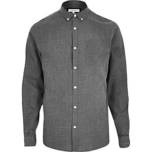 Grey print casual textured shirt