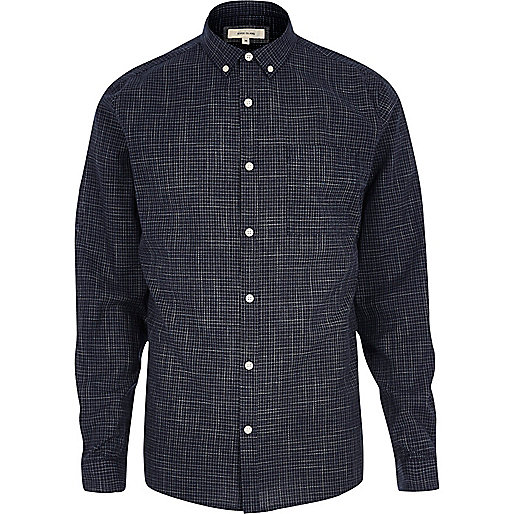 Navy print casual textured shirt