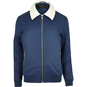 Navy fleece collar harrington jacket