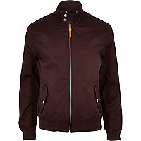 Dark red funnel neck harrington jacket