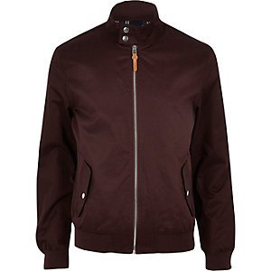 Dark red funnel neck harrington jacket