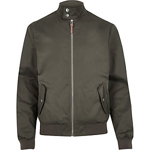 Green funnel neck harrington jacket