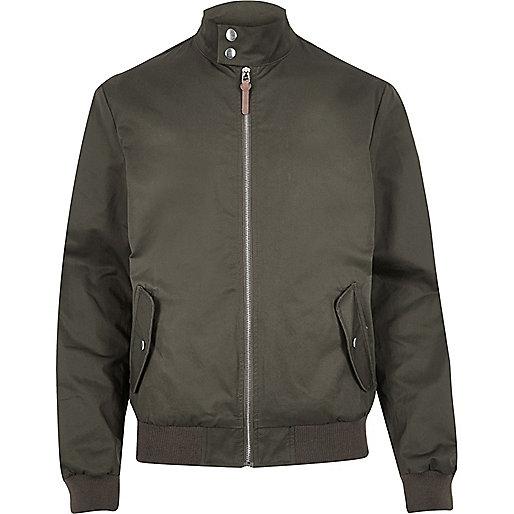 Green funnel neck harrington jacket