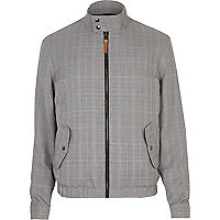 Grey checked funnel neck harrington jacket