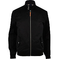 Black funnel neck harrington jacket