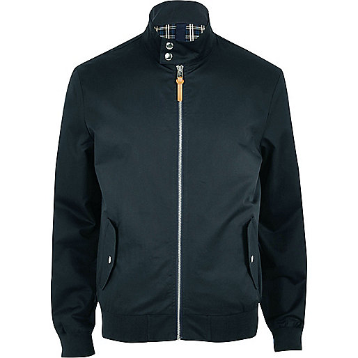Navy funnel neck harrington jacket