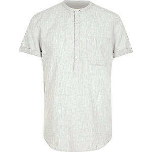 Grey grandad collar shirt