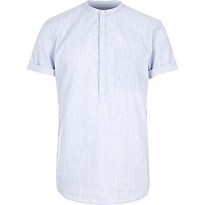 Blue grandad collar shirt