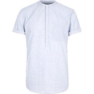 Blue grandad collar shirt
