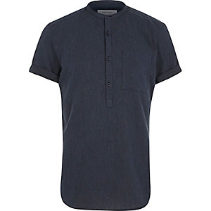 Navy grandad collar shirt