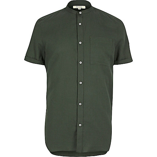Green short sleeve grandad shirt