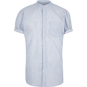 Blue short sleeve grandad shirt