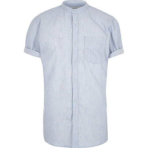 Blue short sleeve grandad shirt short sleeve shirts for Short sleeve grandad shirt