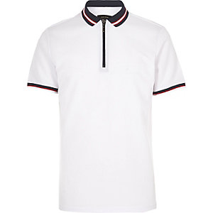 White slim fit zip polo shirt