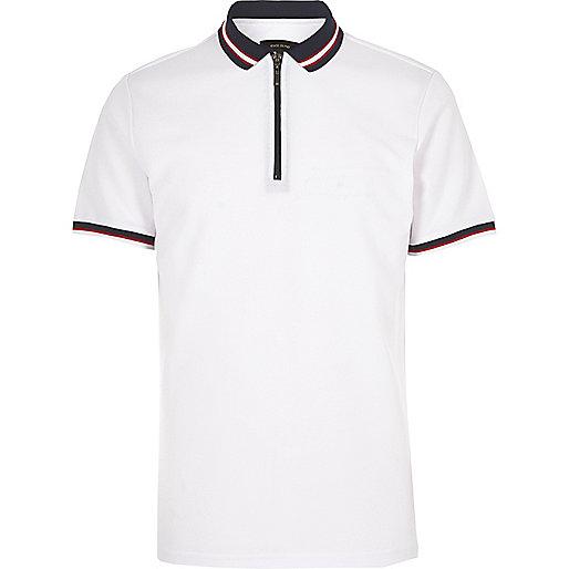 White slim fit zip polo shirt