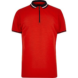 Orange zip polo shirt