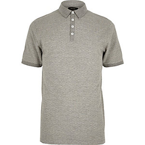 Grey jacquard polo shirt