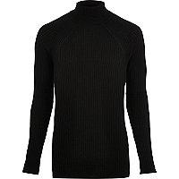 Black ribbed knit roll neck jumper