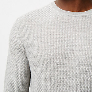 Grey textured crew sweater