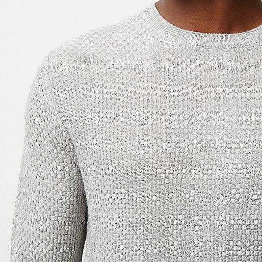 Pull gris texturé à col ras du cou