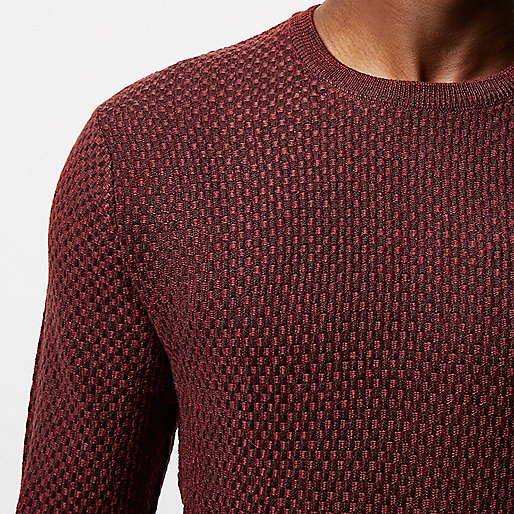 Red textured wool knit jumper