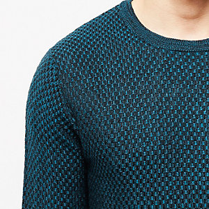 Blue textured crew sweater