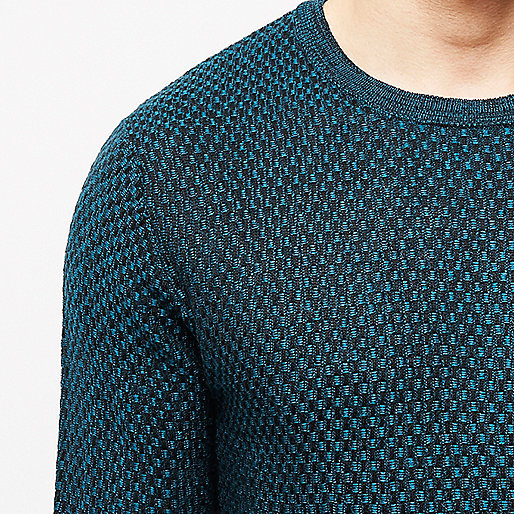 Blue textured crew jumper