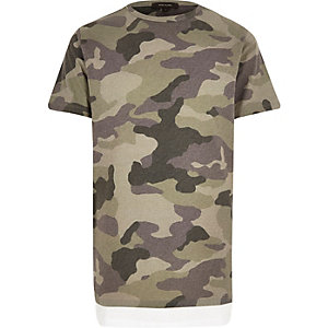 Green camouflage print longline T-shirt