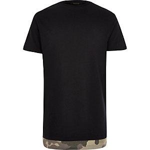 Black camouflage hem longline T-shirt