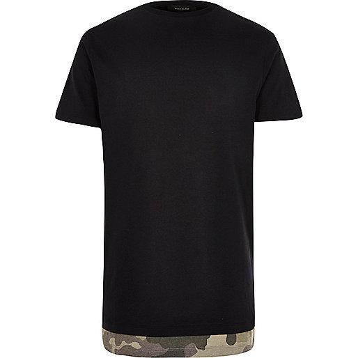 Black camo hem longline T-shirt