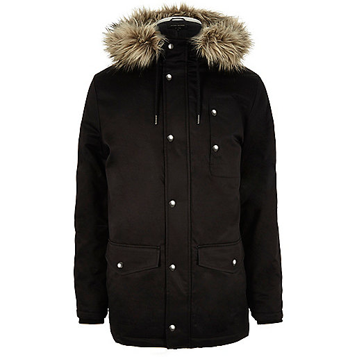 Black faux fur trim padded parka