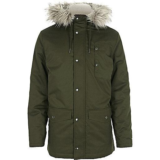 Green hooded parka jacket
