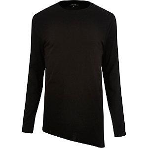 Black asymmetric hem longline top