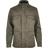 Khaki quilted four pocket jacket