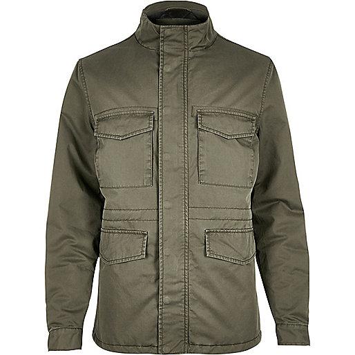 Gesteppte Jacke in Khaki mit vier Taschen