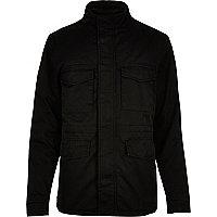 Black quilted four pocket jacket