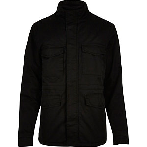 Black quilted four pocket jacket