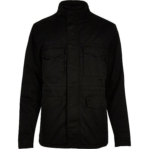 Veste noire matelassée à quatre poches