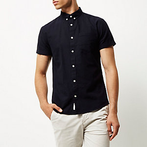 Navy slim fit short sleeve Oxford shirt