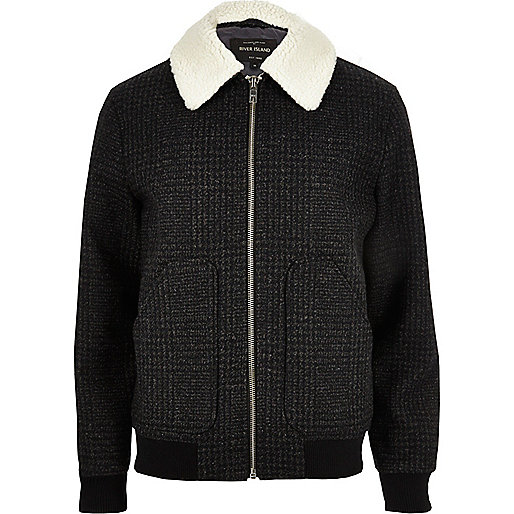 Grey checked borg collar jacket