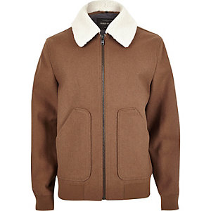 Brown wool blend borg collar jacket