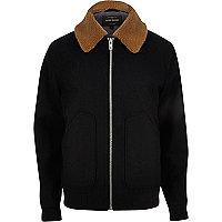Navy fleece collar jacket