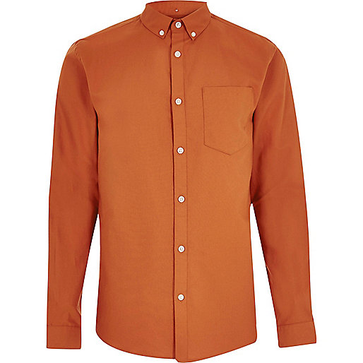 Chemise Oxford orange