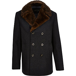 Grey faux fur collar peacoat